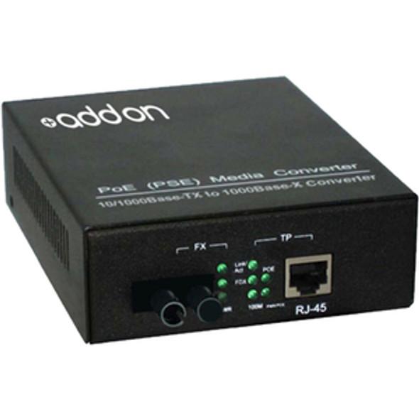 AddOn 10/100/1000Base-TX(RJ-45) to 1000Base-BXD(ST) BiDi SMF 1550nm/1310nm 20km POE Media Converter - ADD-GMCP-BX-DST