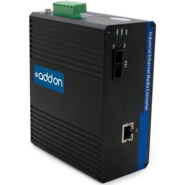 AddOn 1 10/100Base-TX(RJ-45) to 1 100Base-FX(FC) MMF 1310nm 2km Industrial Media Converter - ADD-IFMC-FX-1FC1