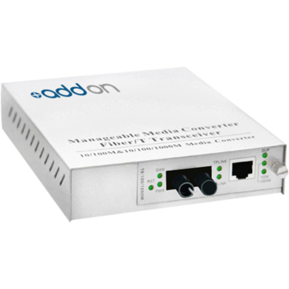AddOn 10/100/1000Base-TX(RJ-45) to 1000Base-SX(ST) MMF 850nm 550m Managed Media Converter - ADD-MGMC-SX-5ST