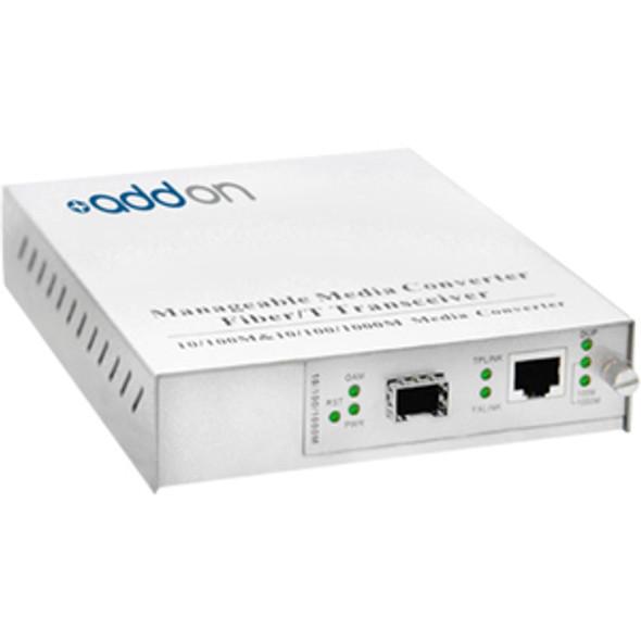 AddOn 10/100/1000Base-TX(RJ-45) to Open SFP Port Managed Media Converter - ADD-MGMC-SFP