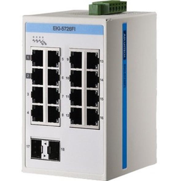 Advantech ProView 16-Port Gigabit Industrial Switch with 2x SPF, Extreme Temp -40~75? - EKI-5726FI-AE