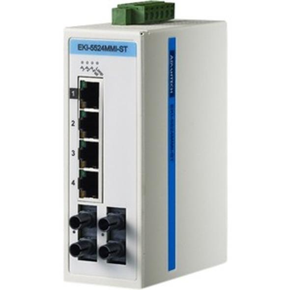 Advantech 4FE+2FE ST Multi-Mode UnManaged Ethernet Switch, ATEX/C1D2/IECEx, -40~75? - EKI-5524MMI-ST-AE