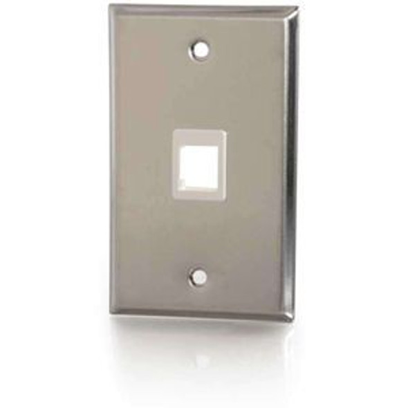 C2G 1-Port Single Gang Multimedia Keystone Wall Plate - Stainless Steel - 37093