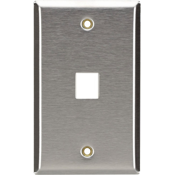 Black Box Keystone Wallplate - Stainless Steel, Single-Gang, 1-Port - WP370