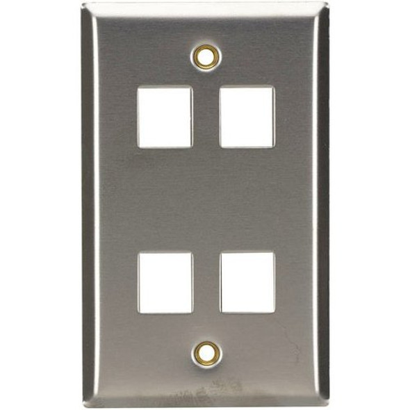 Black Box Stainless Steel Wallplate, Keystone, Single-Width, 4-Punch - WP373