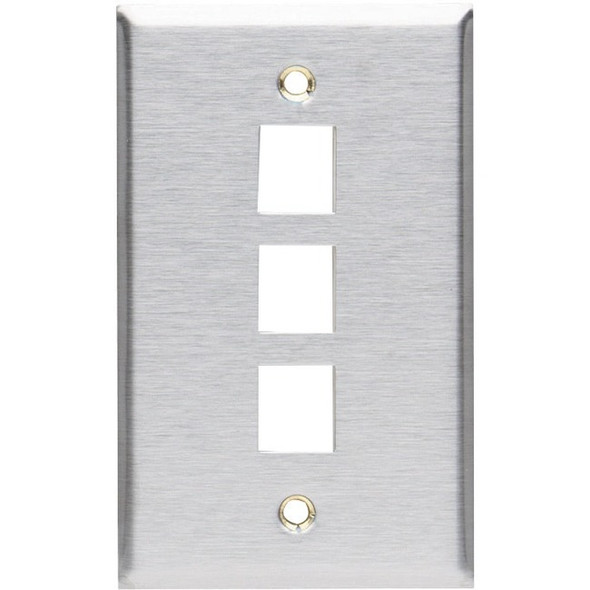 Black Box Keystone Wallplate - Stainless Steel, Single-Gang, 3-Port - WP372