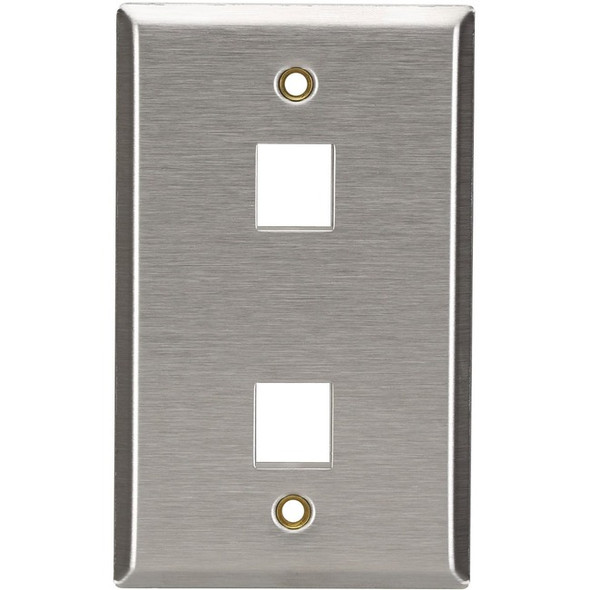 Black Box Keystone Wallplate - Stainless Steel, Single-Gang, 2-Port - WP371