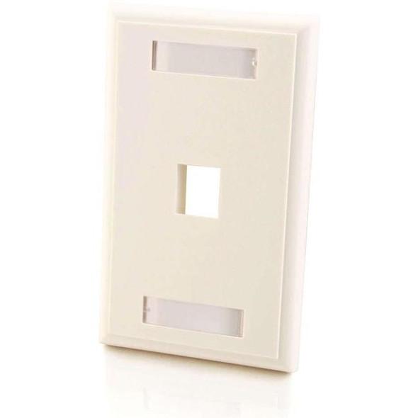 C2G 1-Port Single Gang Multimedia Keystone Wall Plate - White - 3410
