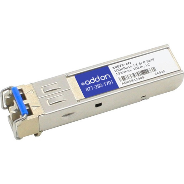 AddOn 10-Pack of Extreme Networks 10072 Compatible TAA Compliant 1000Base-LX SFP Transceiver (SMF, 1310nm, 10km, LC) - 10072-AO
