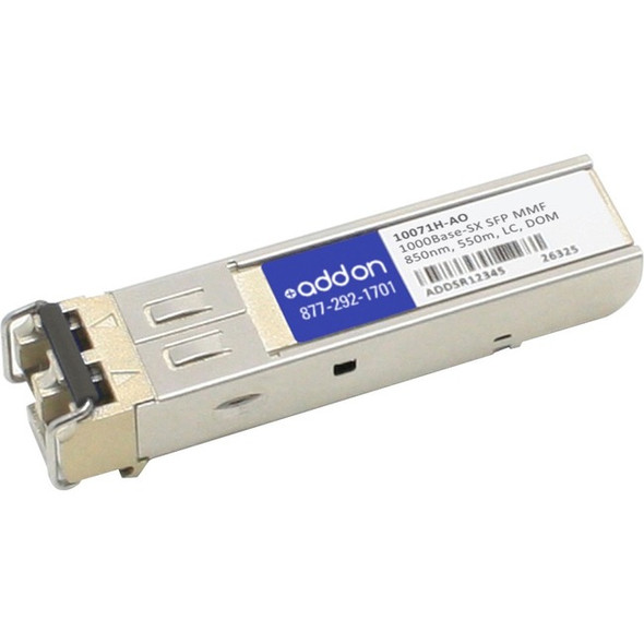 AddOn 10-Pack of Extreme Networks 10071H Compatible TAA Compliant 1000Base-SX SFP Transceiver (MMF, 850nm, 550m, LC, DOM, Rugged) - 10071H-AO