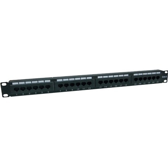 AddOn 19-inch Cat6 24-Port Straight Patch Panel with 110-Type 1U - ADD-PPST-24P110C6