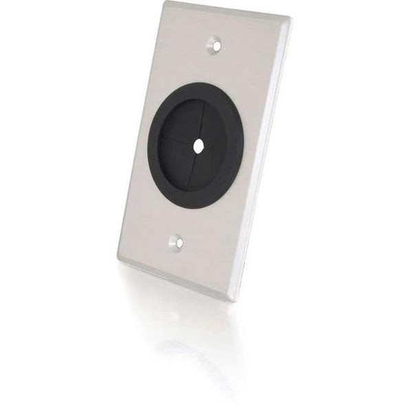 C2G 1.5in Grommet Cable Pass Through Single Gang Wall Plate - Brushed Aluminum - 40489