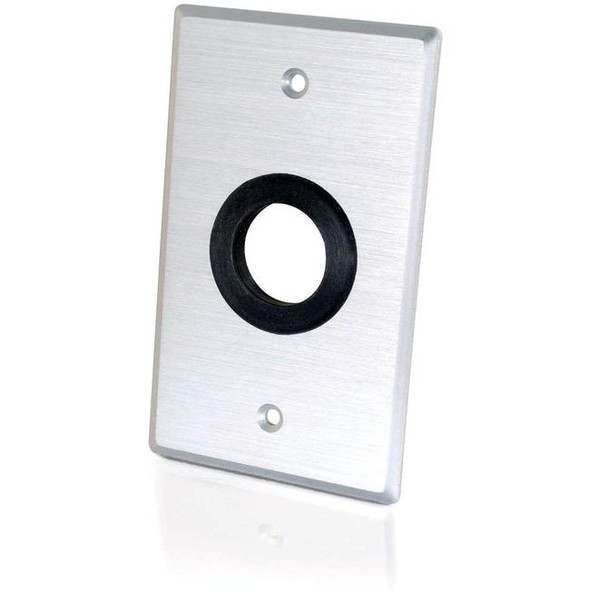C2G 1in Grommet Cable Pass Through Single Gang Wall Plate - Brushed Aluminum - 40488