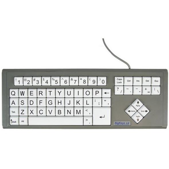 Ablenet BigKeys LX - QWERTY Wired Keyboard Black Print on 1-in/2.5-cm Large White Keys - 12000011