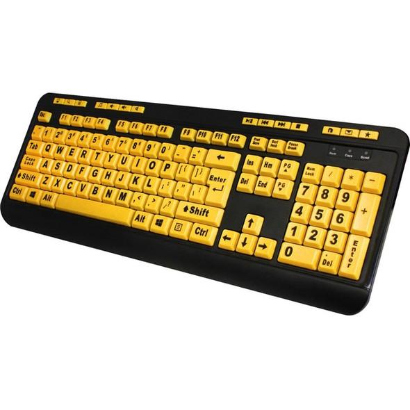 Adesso EasyTouch 132 - Luminous 4X Large Print Multimedia Desktop Keyboard - AKB-132UY