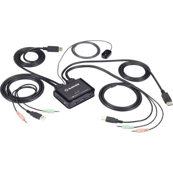 Black Box 2-Port 4K60 DisplayPort Cable KVM Switch - KV62-CBL