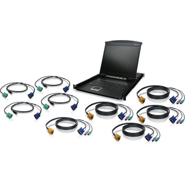 """IOGEAR 8-Port 19"""" LCD KVM Drawer Kit with USB KVM Cables - GCL1908KITU"""