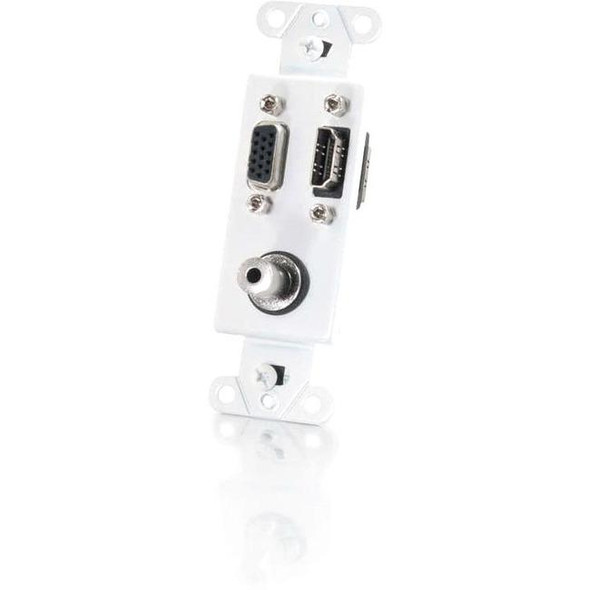 C2G HDMI, VGA and 3.5mm Audio Pass Through Wall Plate - White - 41031