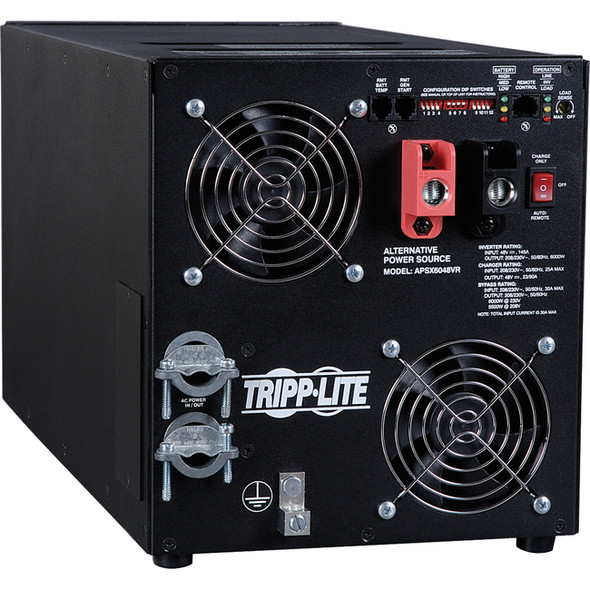 Tripp Lite 6000W APS X Series 48VDC 208/230V Inverter / Charger w/ Pure Sine-Wave Output, AVR, Hardwired - APSX6048VRNET