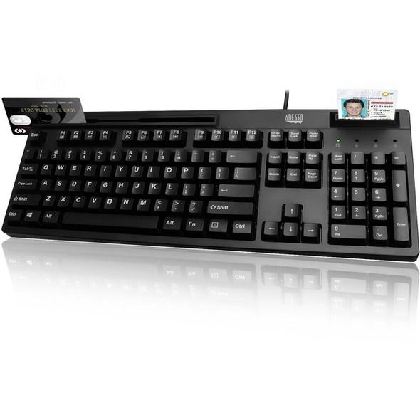 Adesso EasyTouch 630RB - Smart Card & Magnetic Stripe Reader Keyboard - AKB-630RB