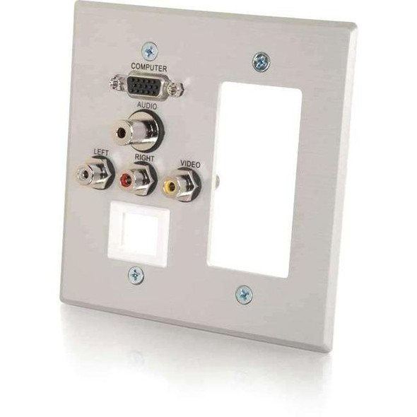C2G VGA, 3.5mm Audio, Composite Video and RCA Stereo Audio Pass Through Double Gang Wall Plate with One Decorative Style Cutout and One Keystone - Brushed Aluminum - 41029