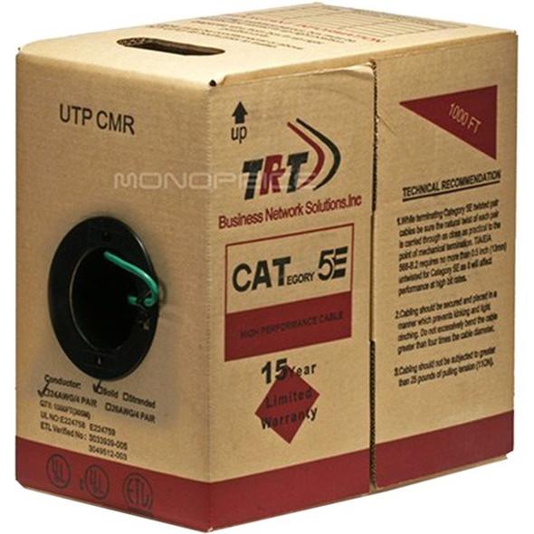 Monoprice 1000ft Cat5e Bulk Bare Copper UTP 24AWG Solid CMR ETL - Green - 15382