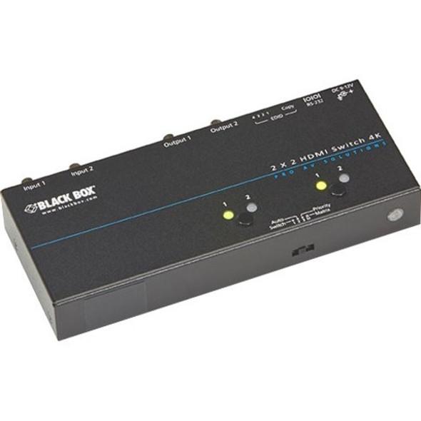 Black Box 4K HDMI Matrix Switch - 2 x 2 - VSW-HDMI2X2-4K