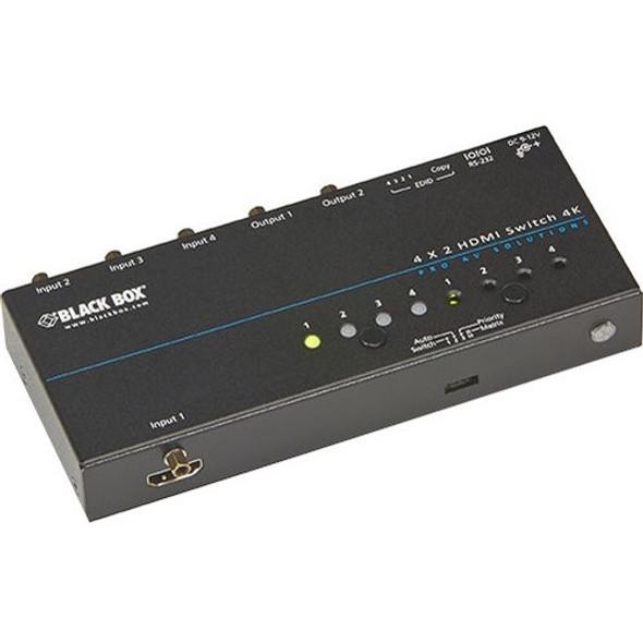 Black Box 4K HDMI Matrix Switch - 4 x 2 - VSW-HDMI4X2-4K