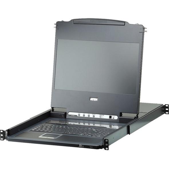 ATEN CL6708MW Single Rail 8-Port DVI FHD LCD KVM Switch with Standard Rack Mount Kit-TAA Compliant - CL6708MW