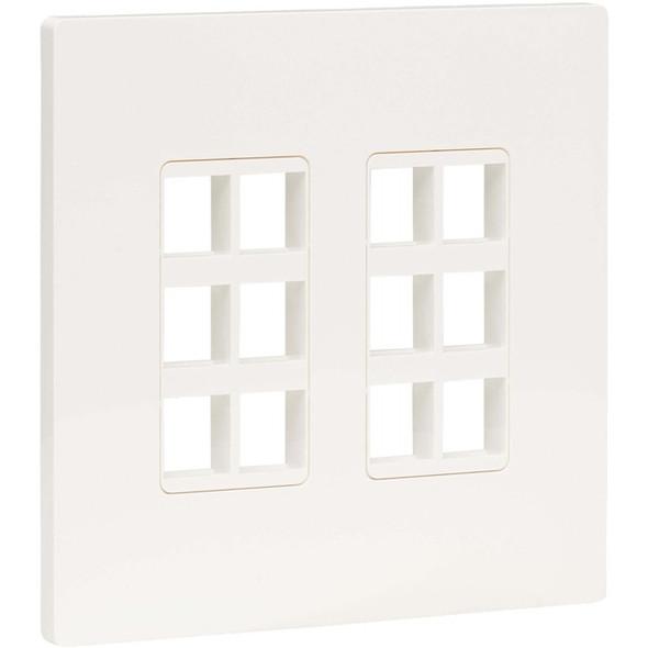 Tripp Lite 12-Port Keystone Double-Gang Faceplate, White, TAA - N080-212