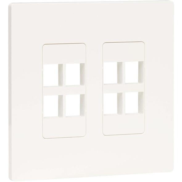 Tripp Lite 8-Port Keystone Double-Gang Faceplate, White, TAA - N080-208