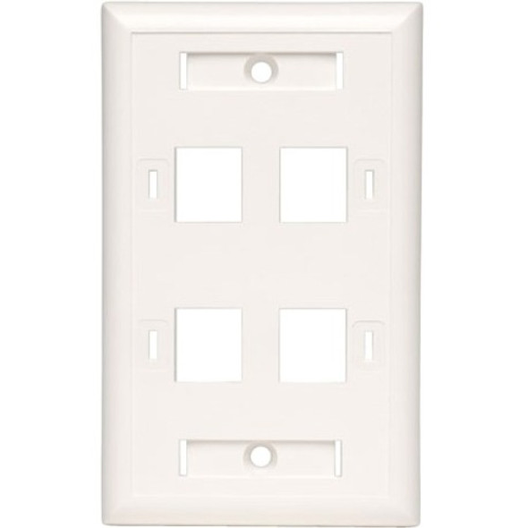 Tripp Lite Quad Outlet RJ45 Universal Keystone Face Plate / Wall Plate, White, 4-Port - N042-001-04-WH