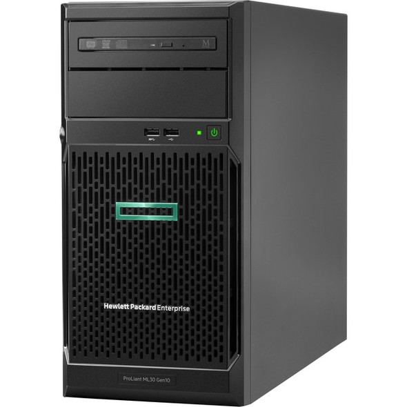 HPE ProLiant ML30 G10 4U Tower Server - 1 x Xeon E-2234 - 16 GB RAM HDD SSD - Serial ATA/600 Controller - P16929-S01