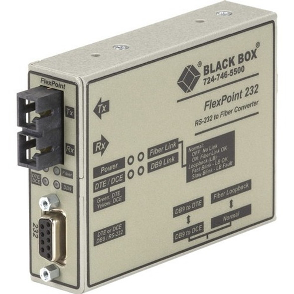 Black Box FlexPoint RS-232 to Fiber Converter, 850-nm Multimode, 2.5 km, SC - ME660A-MSC