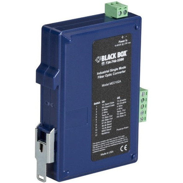 Black Box Industrial DIN Rail RS-232/RS-422/RS-485 Fiber Driver, Single-Mode - MED102A