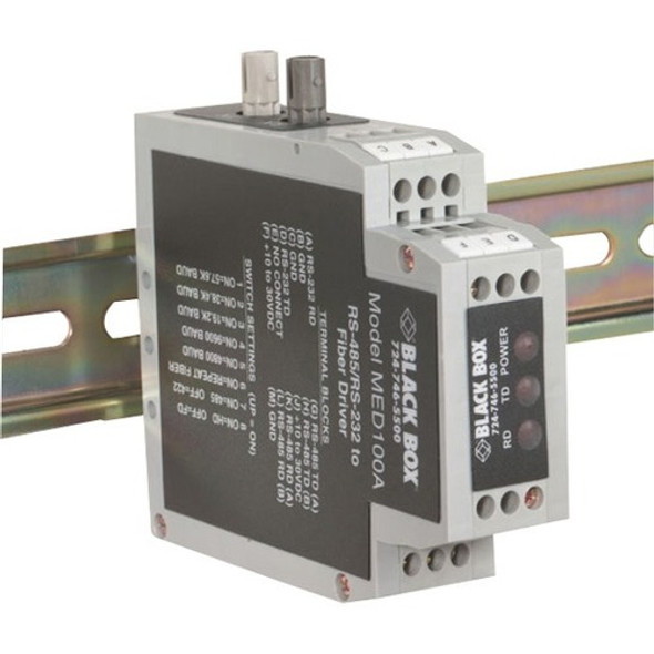 Black Box DIN Rail RS-232/RS-485 To Fiber Driver - MED100A
