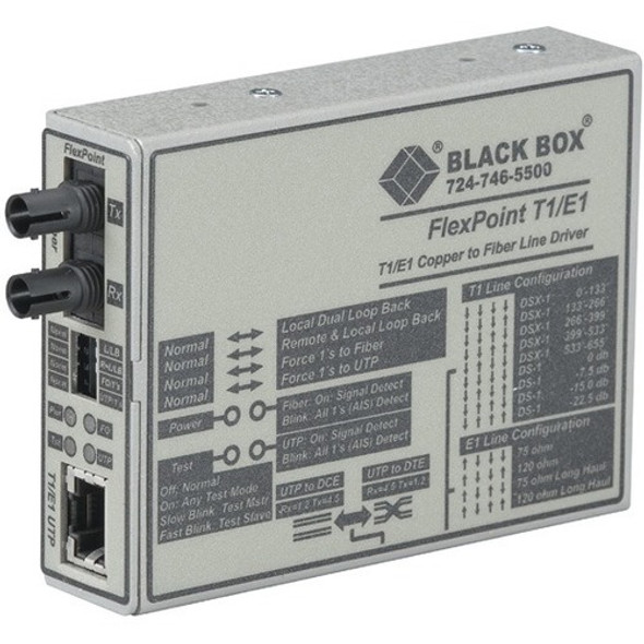 Black Box FlexPoint T1/E1 to Fiber Line Driver, Single-Mode, 28 km, ST - MT661A-SM