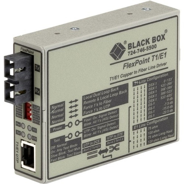 Black Box FlexPoint T1/E1 MT663A-SSC Transceiver/Media Converter - MT663A-SSC