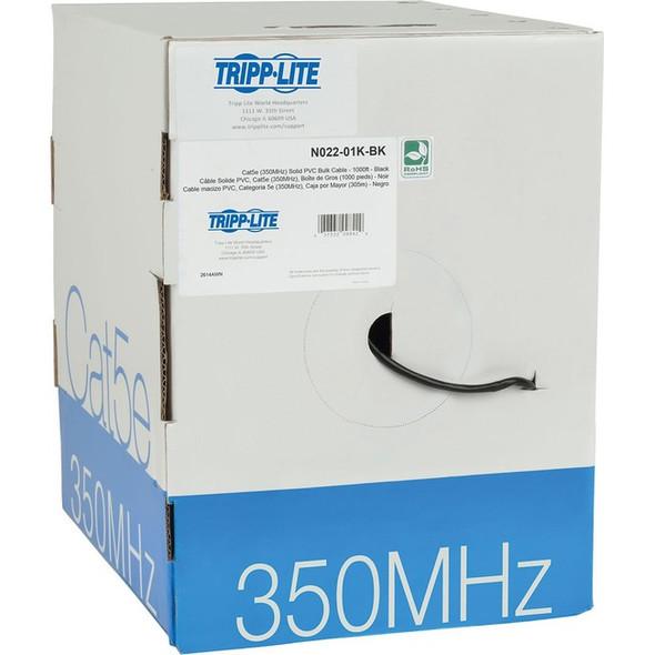 Tripp Lite 1000ft Cat5 / Cat5e Bulk Cable Solid CMR PVC 350MHz Black 1000' - N022-01K-BK