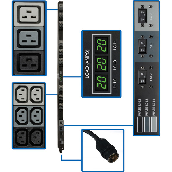 Tripp Lite PDU 3-Phase Metered 208V 12.6 kW Hubbell 36 C13; 9 C19 0URM - PDU3MV6H50