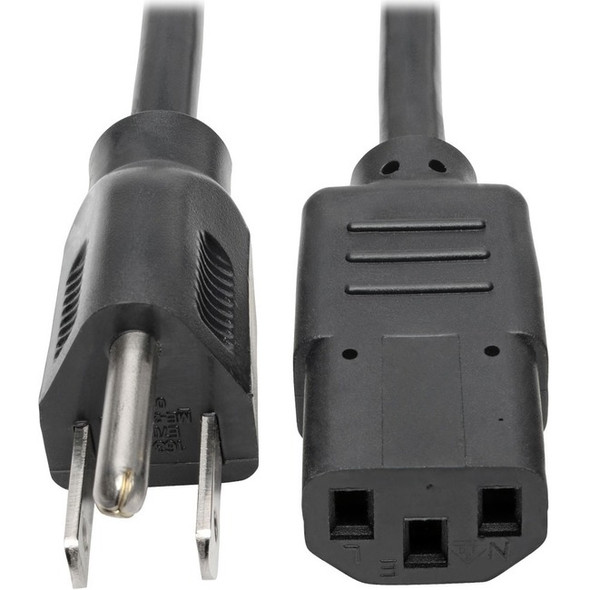 Tripp Lite 1ft Computer Power Cord Cable 5-15P to C13 10A 18AWG 1' - P006-001