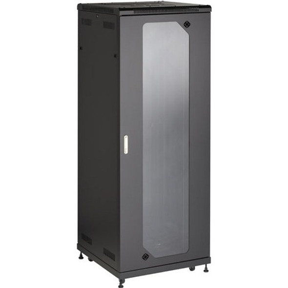 "Black Box Select Plus Split Rear Door Cabinet with Plexiglass Front, 42U, 30""W x 32""D - RM2555A"