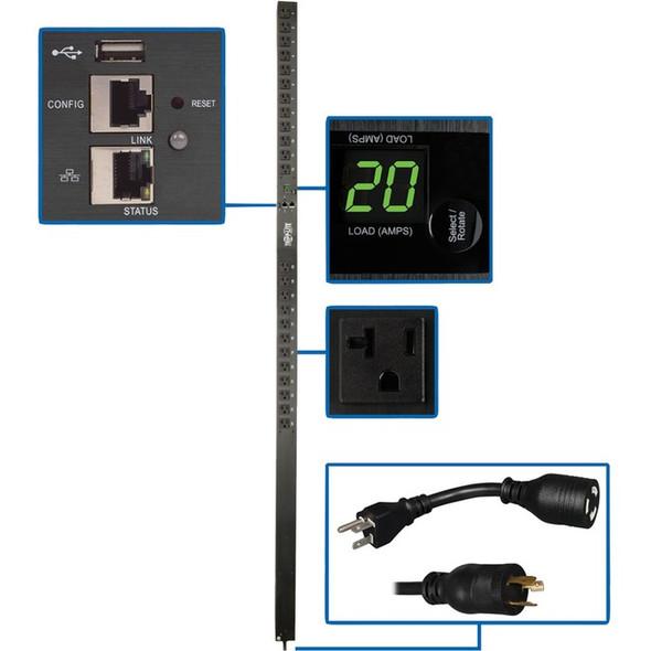 Tripp Lite PDU Monitored 1.9kW 120V, 24 5-15/20R, LX Platform Interface, 70in. 0URM Rackmount Vertical TAA - PDUMNV20LX