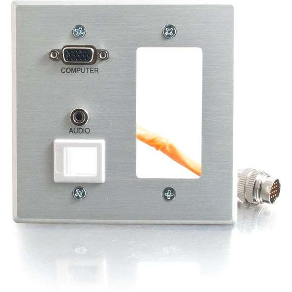 C2G RapidRun Double Gang Integrated VGA (HD15) + 3.5mm + Keystone + Decorative Style Wall Plate - 60056
