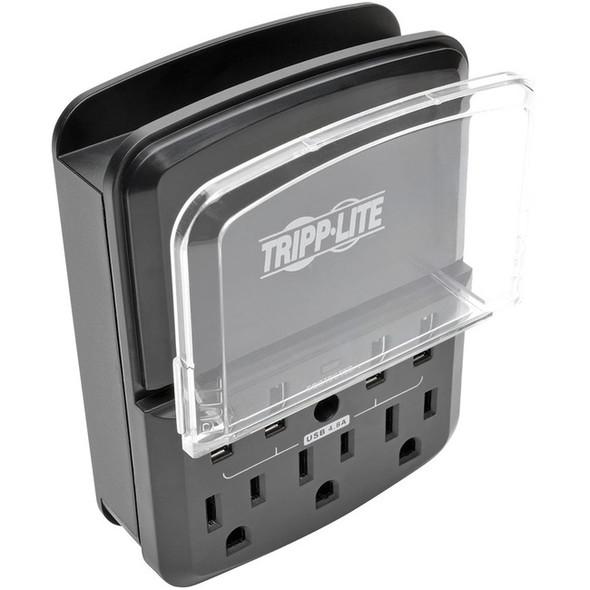Tripp Lite 4-Port Wallmount USB Charging Station w 3 Outlet Surge Protector - SK34USBB