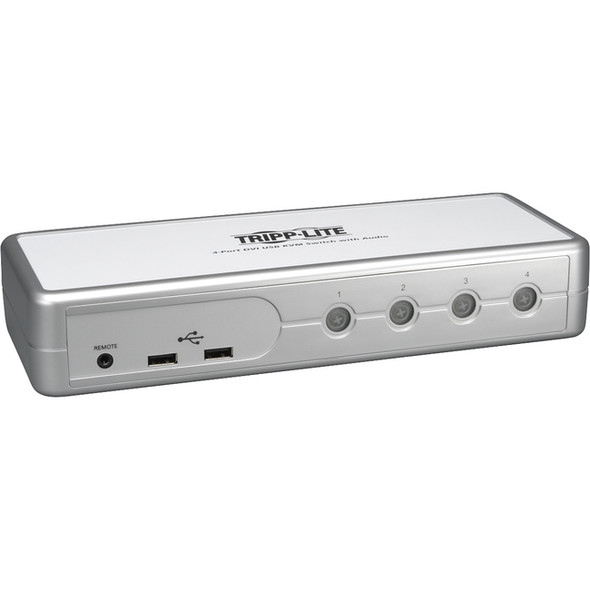 Tripp Lite 4-Port Desktop Compact DVI/USB KVM Switch w/ Audio & Cables - B004-DUA4-K-R