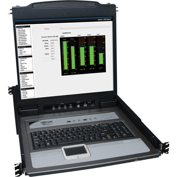 """Tripp Lite 16-Port Rack Console KVM Switch 19"""" LCD PS2/USB Cables 1U - B020-U16-19-K"""