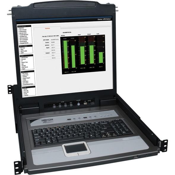 """Tripp Lite 8-Port Rack Console KVM Switch w/19"""" LCD & 8 PS2/USB Cables 1U - B020-U08-19-K"""