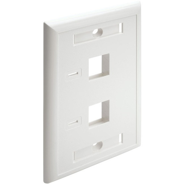 Tripp Lite Dual Outlet RJ45 Universal Keystone Face Plate / Wall Plate - N042-001-WH