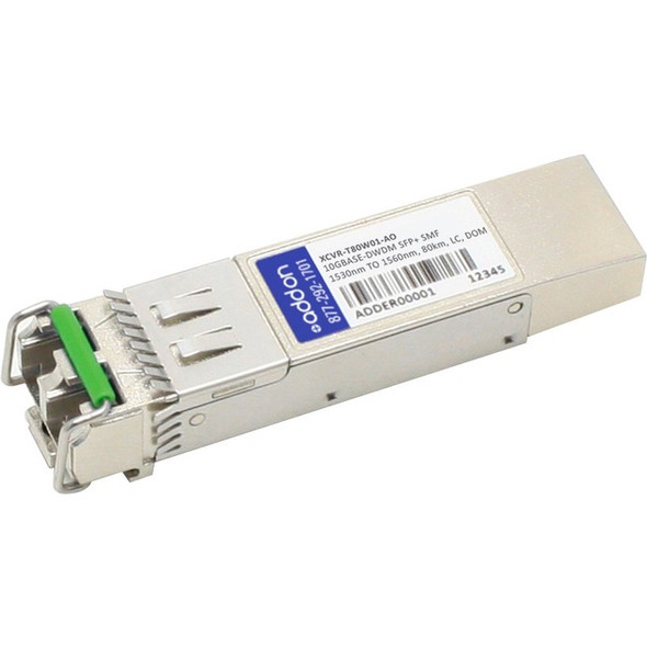 AddOn Ciena XCVR-T80W01 Compatible TAA compliant 10GBase-DWDM 50GHz SFP+ Transceiver (SMF, Tunable, 80km, LC, DOM) - XCVR-T80W01-AO